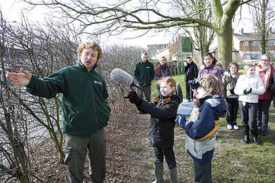 Countrycare officer talks about the school hedgerow at Willingale school